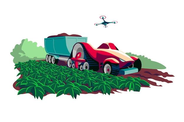 Process of harvesting crops on modern machine vector illustration