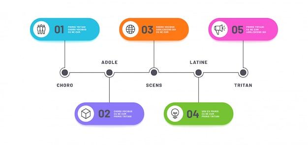 Процесс инфографики. временная шкала с 5 шагов. бизнес пять вариантов infochart. шаблон схемы обработки рабочего процесса
