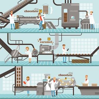 水平カラフルバナーのキャラメルとチョコレートの生産プロセスのプロセスチョコレート工場のカラフルな詳細なイラスト