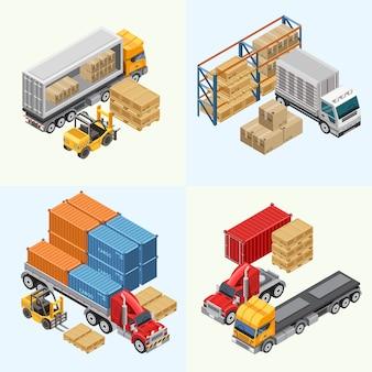 Процесс загрузки грузовых автомобилей