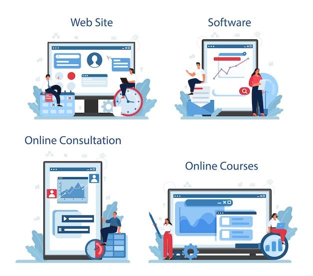 프로세스 최적화 온라인 서비스 또는 플랫폼 세트. 비즈니스 프로젝트 개선 및 개발 아이디어. 효과적인 팀 작업. 온라인 코스, 소프트웨어, 상담, 웹 사이트.