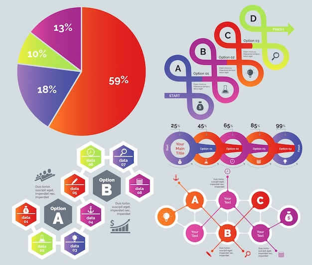 Process and percentage chart set