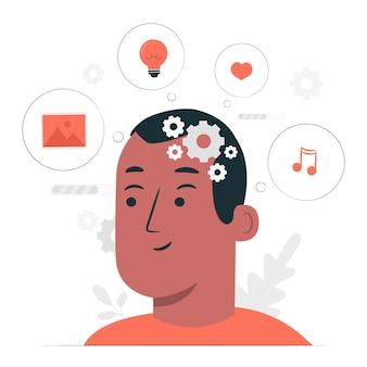 Иллюстрация концепции обработки мыслей