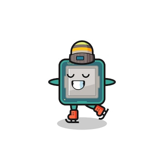Processor cartoon as an ice skating player doing perform , cute style design for t shirt, sticker, logo element
