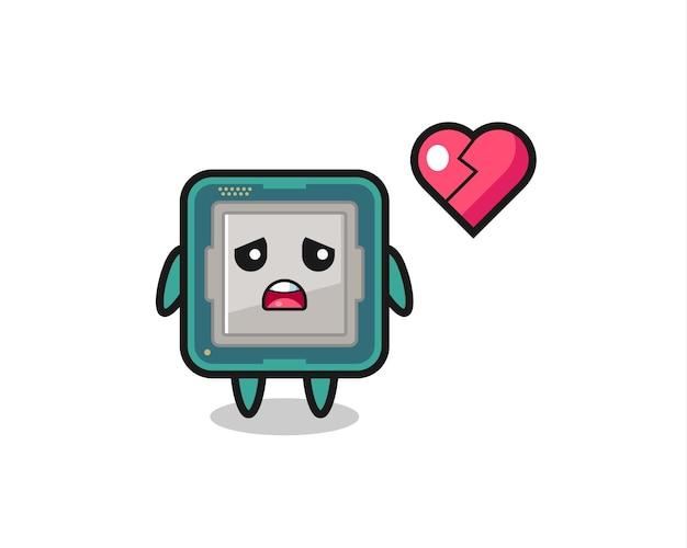 Иллюстрация шаржа процессора - разбитое сердце, милый стиль дизайна для футболки, наклейки, элемента логотипа