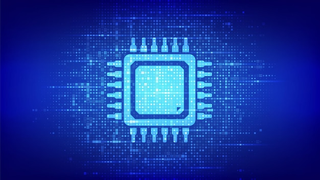 Processor. cpu microprocessor or chip icon made with binary code. computer chip. ai chipset. digital binary data and streaming digital code. matrix background with digits 1.0. vector illustration.
