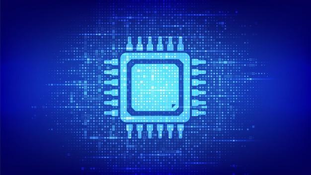 프로세서. 이진 코드로 만든 cpu 마이크로프로세서 또는 칩 아이콘. 컴퓨터 칩. 아이 칩셋. 디지털 바이너리 데이터 및 스트리밍 디지털 코드. 숫자가 1.0인 매트릭스 배경. 벡터 일러스트 레이 션.