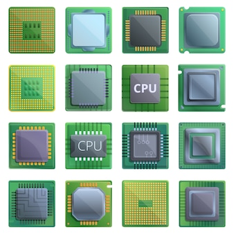 Набор иконок процессора. мультфильм набор векторных иконок процессора