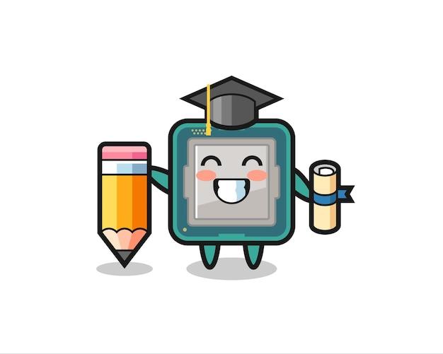 프로세서 그림 만화는 거대한 연필로 졸업하고 티셔츠, 스티커, 로고 요소를 위한 귀여운 스타일 디자인