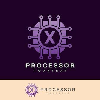 Processor initial letter x logo design