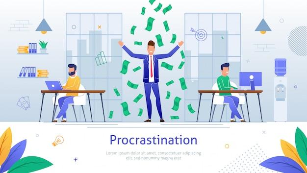 Procrastinating cartoon businessman