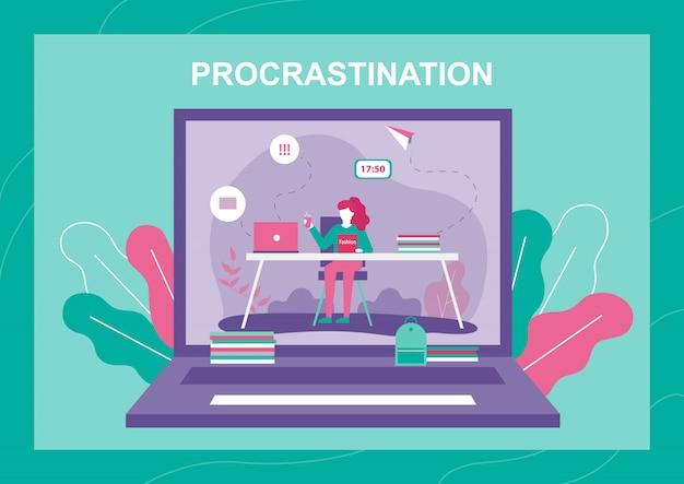 Procrastinating woman on laptop screen