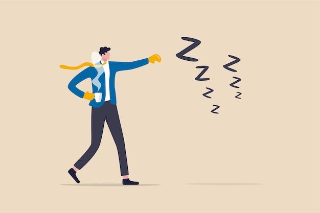 先延ばしと怠惰、生産性と抵抗と眠そうな概念と戦うための専門家、警戒するビジネスマンは怠惰な眠そうなシンボルと戦うためにボクシンググローブを身に着けているコーヒーを持っています。
