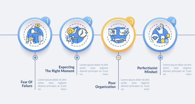 Procrastination causes infographic template illustration