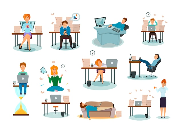 Procrastination characters overwhelmed with work delaying tasks sleeping in workplace distracted symptoms cartoon icons collection