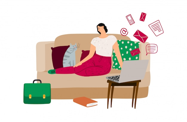 Procrastination concept. vector illustration with relaxing girl on sofa, cat, laptop