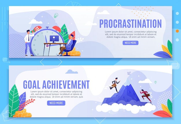 Procrastination and goal achievement banner set