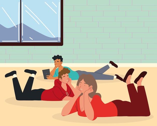 先延ばしの人々は床でリラックス