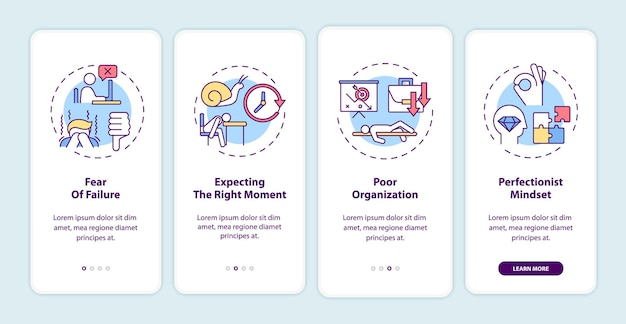 Procrastination reasons onboarding mobile app page screen with concepts illustrations