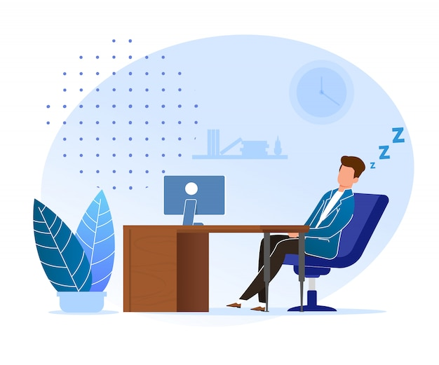 Procrastination waiting for right time cartoon. man sleeping at work office