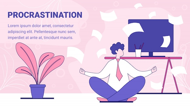 Procrastination on work place banner template in flat style