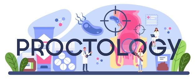 Типографский заголовок проктологии. врач осматривает кишечник.