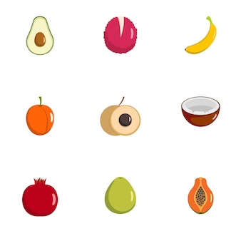 Produce icons set. flat set of 9 produce icons