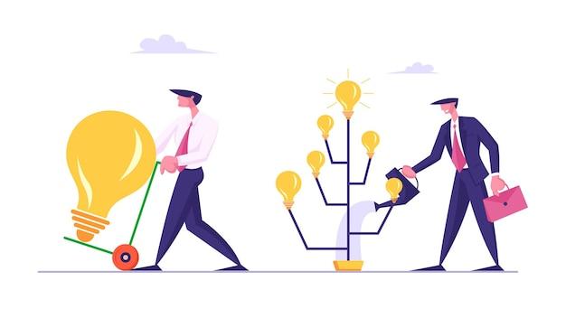 빛나는 전구를 가진 나무를 급수하는 아이디어 개념 사업가 생산 프리미엄 벡터