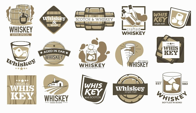 Producing whiskey beverage, aged in oak barrels for years. labels and logotypes with inscriptions, alcoholic beverage manufacturing in countryside. glass with ice cubes. vector in flat style