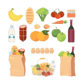 Пакеты для продуктов. тележки для покупок с различными продуктовыми продуктами, здоровыми фруктами, молоком, едят ингредиенты хлеба для коллекции векторных пакетов кухни