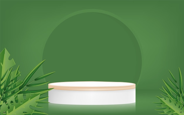 Product banner promotion with podium and palm leaves on green background