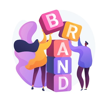 Product brand building. corporate identity design. studio designers flat characters teamwork, cooperation and collaboration. company name.