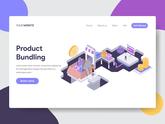 Product bundling isometric illustration for web pages