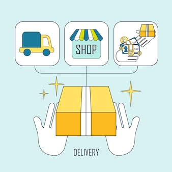 Product delivery concept in flat thin line style