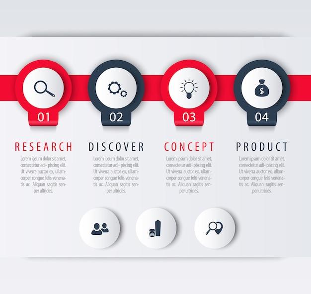 製品開発、インフォグラフィック要素、1、2、3、4、ステップ、ラベル、ベクトル図