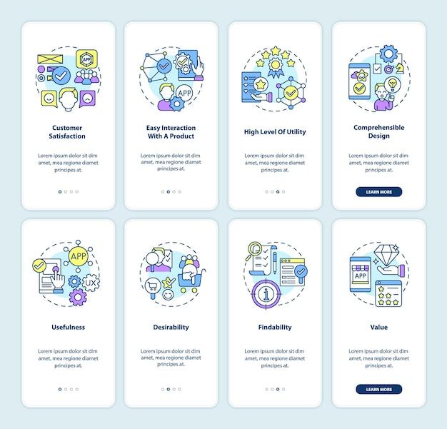 製品開発オンボーディングモバイルアプリページ画面セット。顧客からのフィードバックのウォークスルー4つのステップのグラフィックによる説明と概念。線形カラーイラストとui、ux、guiベクトルテンプレート