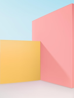 パステルカラーと水色の空の色で製品ディスプレイの背景