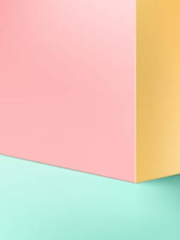 パステルカラーの壁またはコーナーと製品ディスプレイの背景