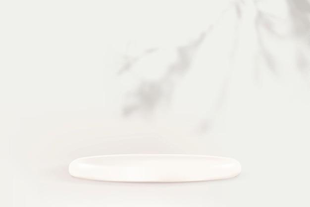 Vettore del podio dell'esposizione del prodotto con l'ombra della foglia su fondo bianco