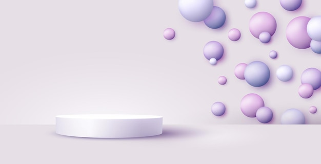 Product display podium with flying sphere on pastel background