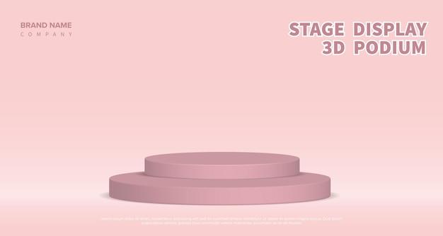 ピンクの表彰台で製品表示ベクトル3dレンダリング。パステルカラーの幾何学的なステージプラットフォームと抽象的な背景。ビジネスコンセプト