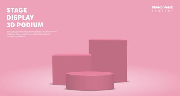Вектор отображения продукта 3d визуализации с розовым подиумом. розовый абстрактный фон с геометрической сценической платформой в пастельных тонах. бизнес-концепция