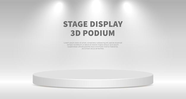 Вектор отображения продукта 3d визуализации с белым подиумом. белый абстрактный фон с геометрической сценической платформой. бизнес-концепция