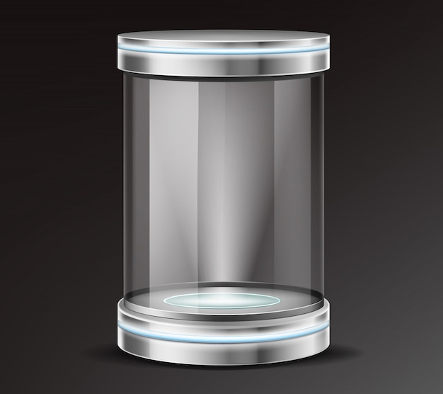 Product exhibit glass container realistic vector