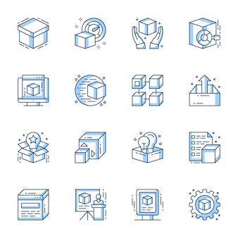 Product launch and presentation vector linear icons set.