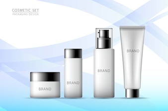 Product mock up. Cosmetic set on the blue background.