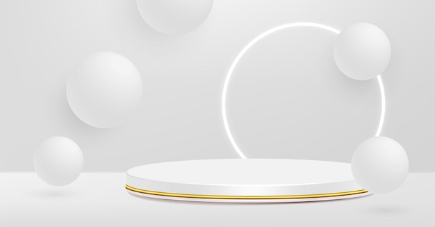 Product pedestal, white and gold, cylinder shape.