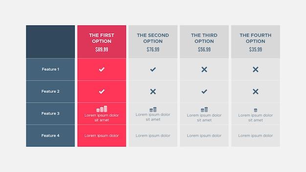 План продукта предложение цена пакет варианты подписки таблица сравнения инфографика дизайн темп.