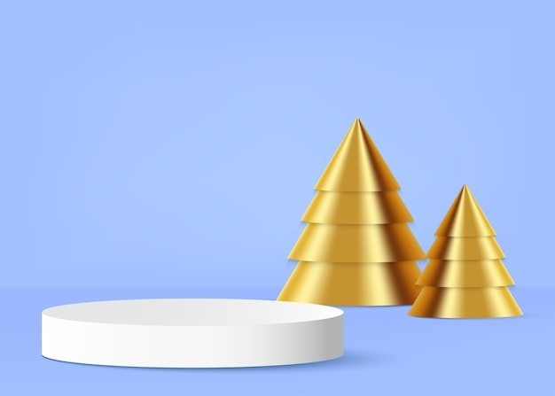 Product podium with golden christmas tree on the background vector