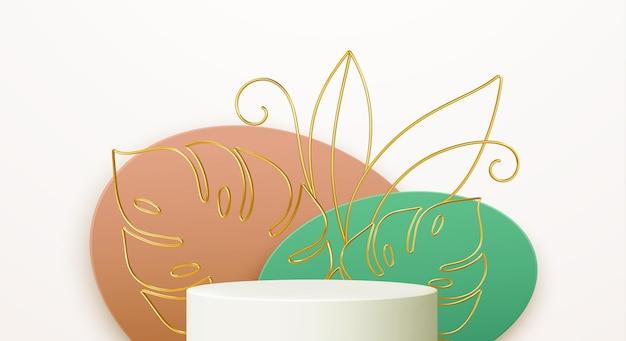 Product podium with golden monstera leaf line art on color shape background